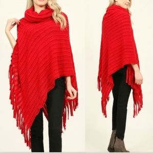 Sweaters - Red Turtleneck Poncho Sz. OS